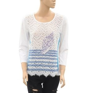 Anthropologie Embellished White Floral Lace Top M